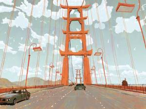 Concept art for the Golden Gate Bridge, Tokyo-style